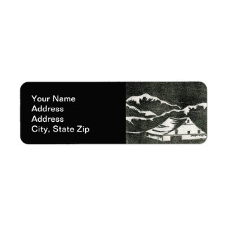 Country landscapes woodland fields barn shed. return address label
