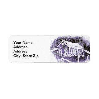 Country landscapes woodland purple shed. return address label