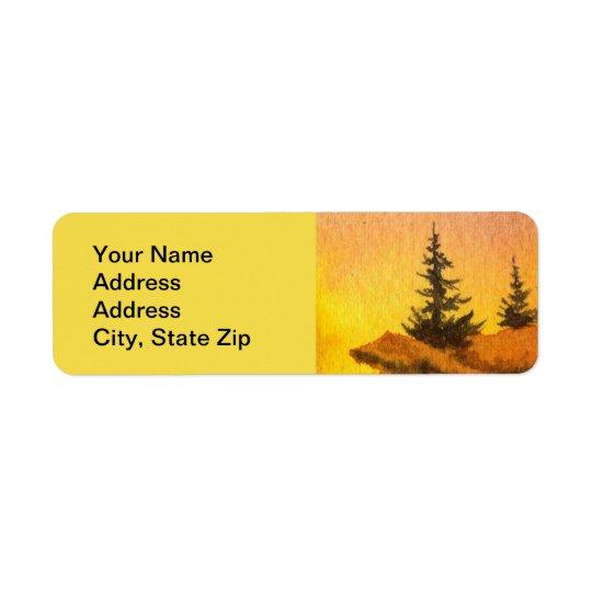 Country landscapes yellow sunrise sunset sky. return address label