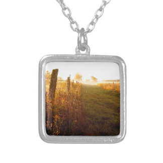 Country Lane, northern Ontario Canada Silver Plated Necklace