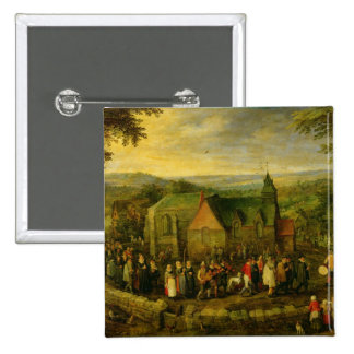 Country Life with a Wedding Scene 15 Cm Square Badge