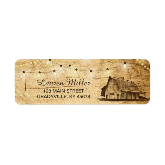 Country Lights small address label with barn