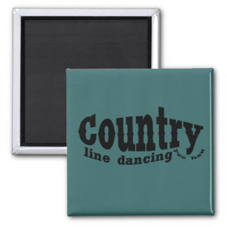Country line dancing square magnet