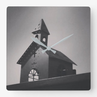 Country Little Church Square Wall Clock