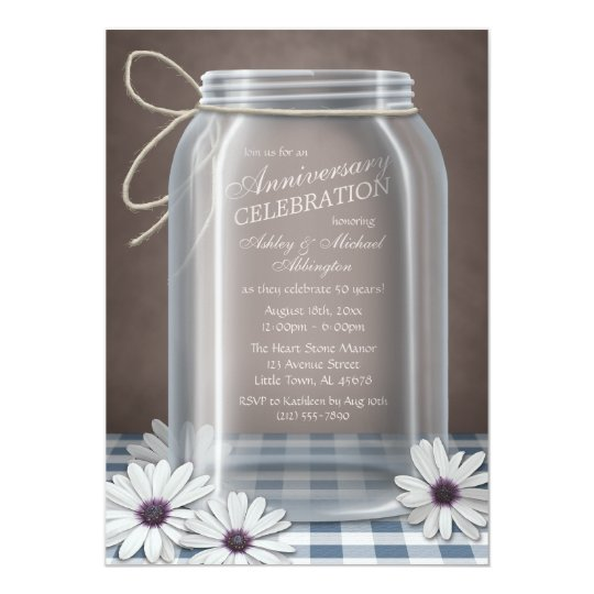 Country Mason Jar Blue Gingham Anniversary Card