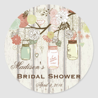 Country Mason Jar Bridal Shower Favor Labels Round Sticker