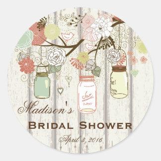 Country Mason Jar Bridal Shower Favor Labels Round Sticker