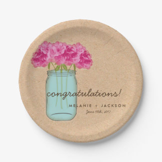 Country Mason Jar Bridal Shower Plates