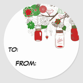 Country Mason Jar Christmas Gift Tag Sticker