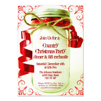 Country Mason Jar Christmas Party Invitations
