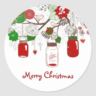 Country Mason Jar Christmas Sticker