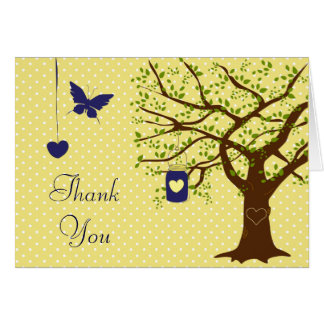 Country Mason Jar Navy and Yellow Thank You Card