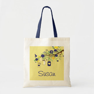 Country Mason Jar Navy Blue and Yellow Tote