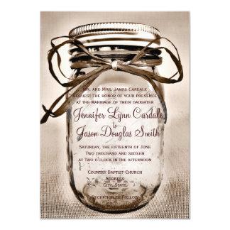 Country Mason Jar Rustic Wedding Invitations