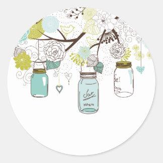 Country Mason Jars Blue Flowers Classic Round Sticker