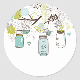 Country Mason Jars Blue Flowers Round Sticker