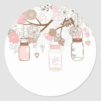 Country Mason Jars Pink Flowers Round Sticker