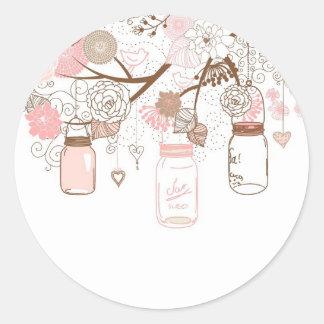 Country Mason Jars Pink Flowers Round Sticker