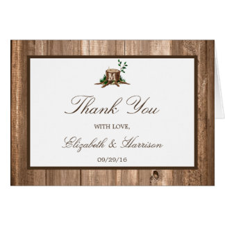 Country Monogram Tree & Wood Wedding Thank You Note Card