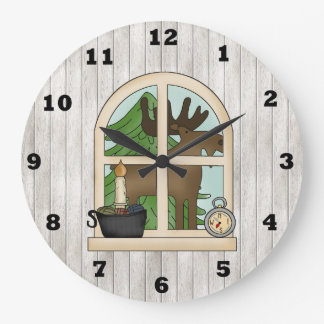 Country Moose Window wall clock