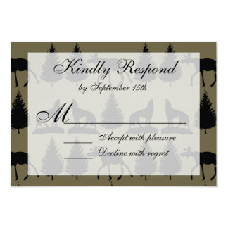 Country Moose Wolves Wildlife Wedding RSVP Cards 9 Cm X 13 Cm Invitation Card