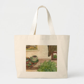 Country Morning Coffee CricketDiane Coffee Art Canvas Bags