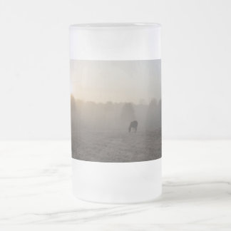 Country Morning Frosted Glass Beer Mug