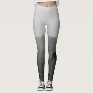 Country Morning Grayscale Leggings