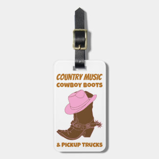 Country Music Cowboy Boots Pickup Trucks Luggage Tag