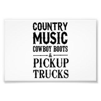 Country Music, Cowboy Boots & Pickup Trucks Art Photo