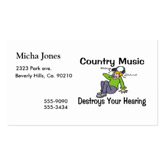 Country Music Destroys Your Hearing Pack Of Standard Business Cards