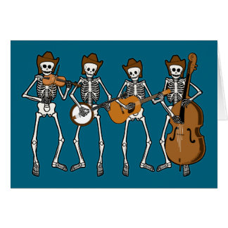 Country Music Playing Skeletons Card