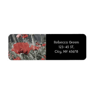 country nature landscape red poppy flower return address label
