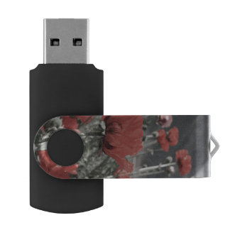 country nature landscape red poppy flower swivel USB 2.0 flash drive