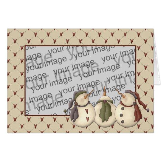 Country Nowel Snowmen Christmas Card Template