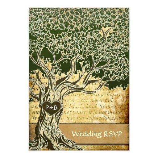 Country Oak Tree Vintage Wedding RSVP Cards Invites