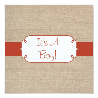 Country Orange Rust and Beige Burlap Baby Shower 5.25x5.25 Square Paper Invitation Card