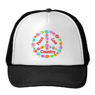 Country Peace Love Mesh Hats
