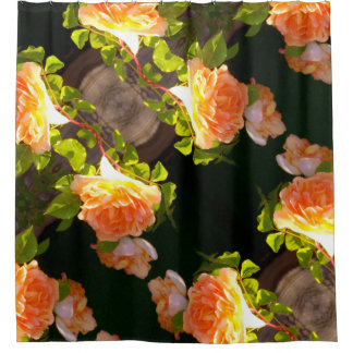 Country Peach Roses Shower Curtain