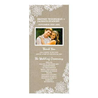 Country Photo Burlap and Lace Wedding Programs Rack Card