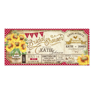 Country Picnic Sunflowers Rustic Bridal Shower Card