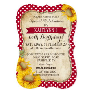Country Picnic with Sunflowers Birthday Invite