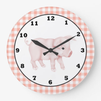 Country Pig Cartoon wall clock