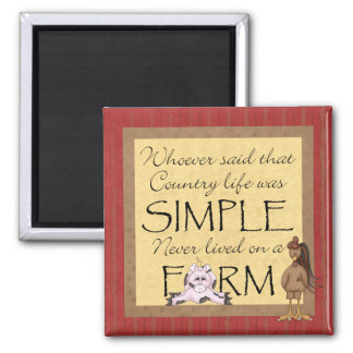 Country Pig & Rooster Farm Magnet