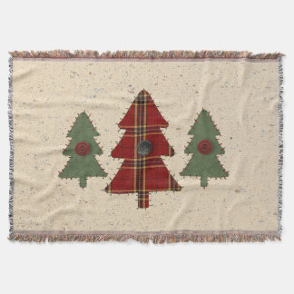 Country Pine Trees Throw Blanket