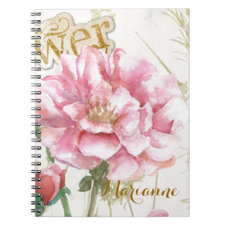 Country Pink Roses and Gold Fringe Notebook
