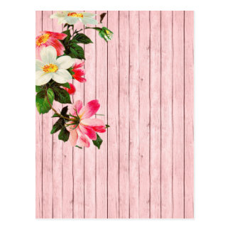 Country Pink Washed Fence and Flowers Postcard