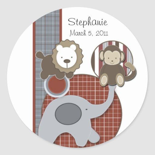 Country Plaid Baby Boy Sticker
