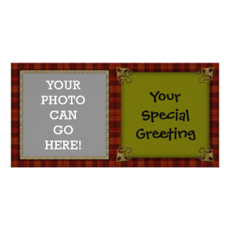 Country Plaid Decorative Gold Christmas Design Customized Photo Card