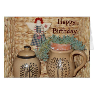 Country pottery and rag doll - birthday card